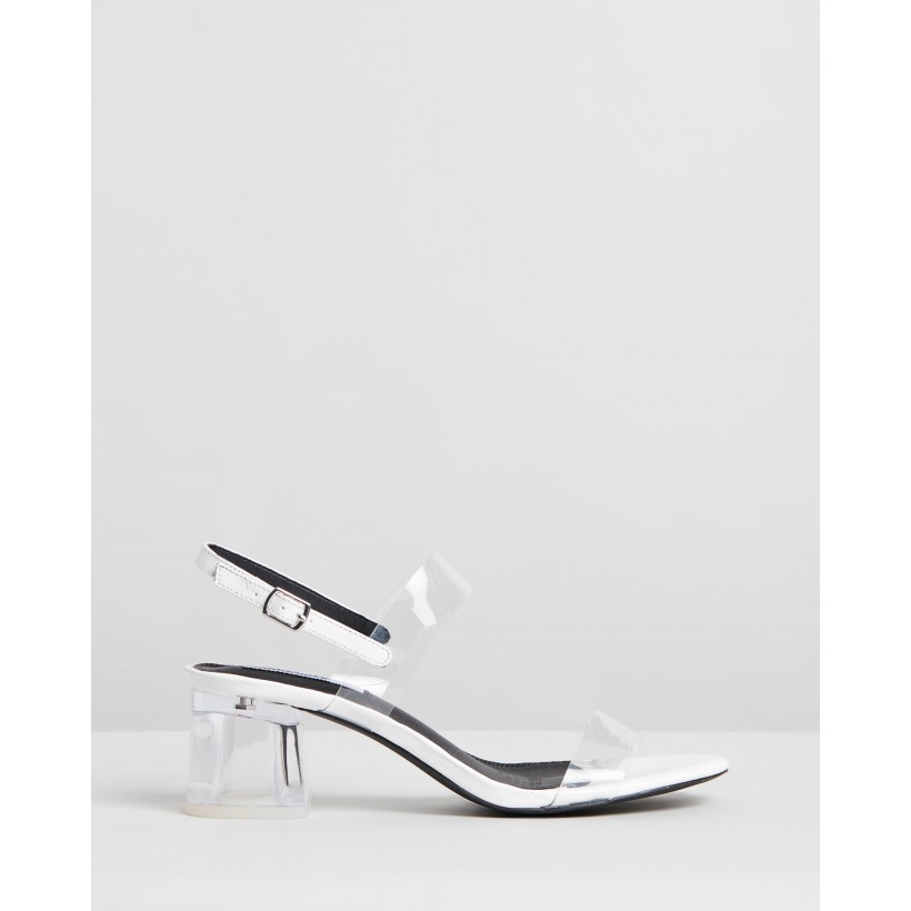 Fae Heels White Patent & Clear by Dazie