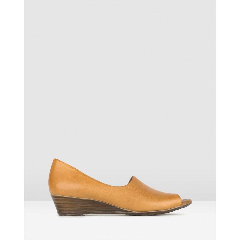 Farrah Leather Peep Toe Wedges Tan by Airflex