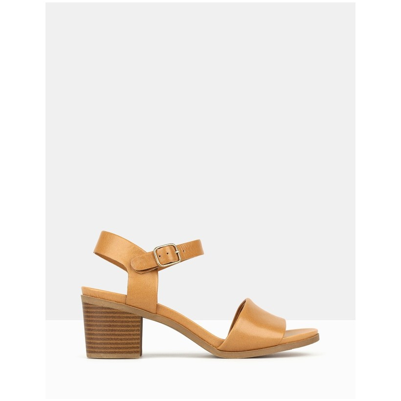 Felicity Block Heel Sandals Tan by Airflex