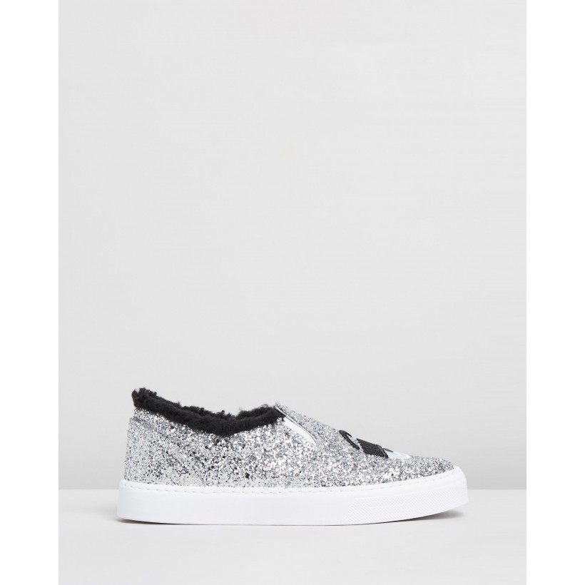 Flirting Slip-On Sneakers Silver Glitter by Chiara Ferragni
