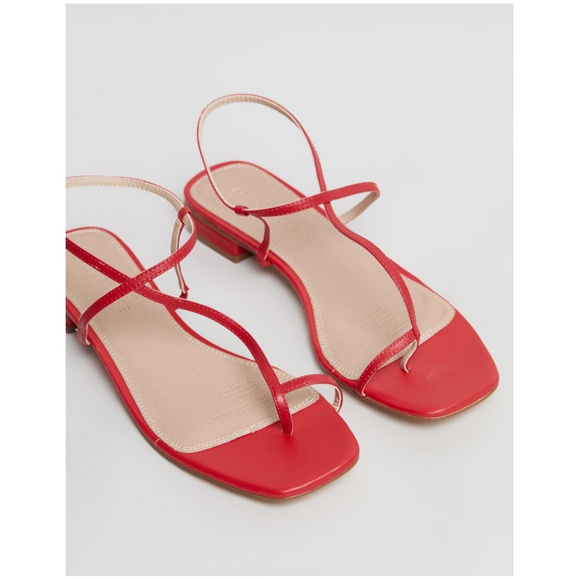 Florence Leather Sandals Red Leather by Atmos&Here