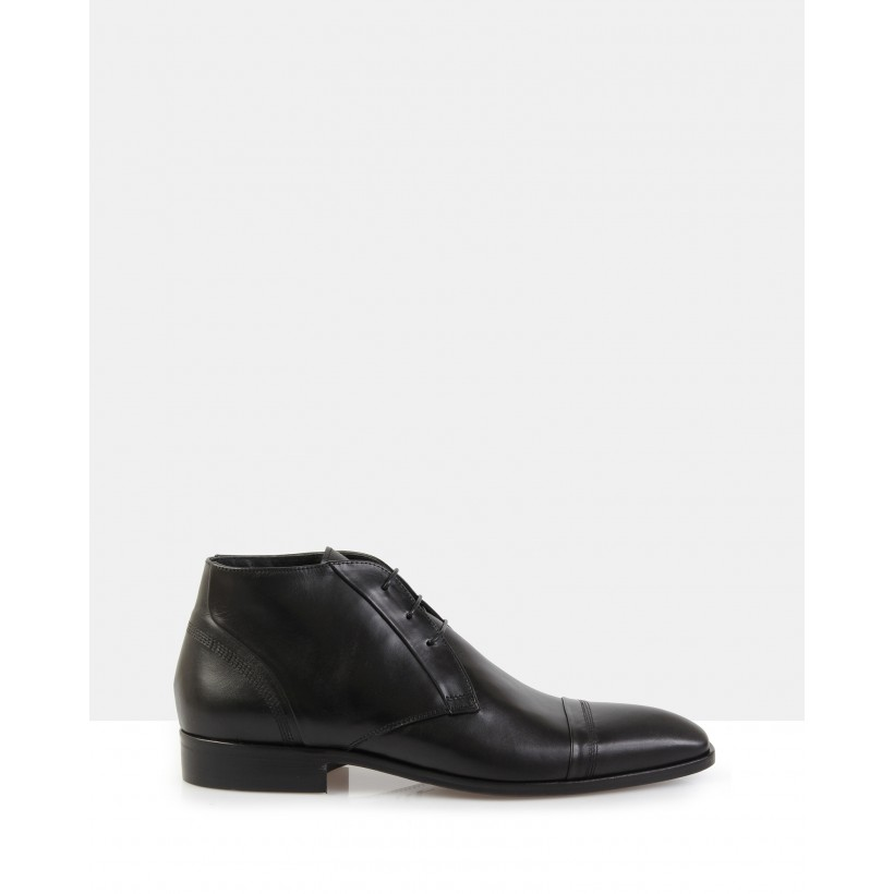 Folco Black Leather Boots Black by Brando