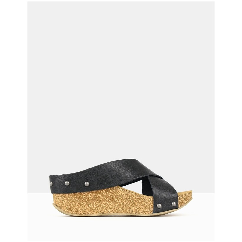 Franca Cork Wedge Sandals Black by Airflex