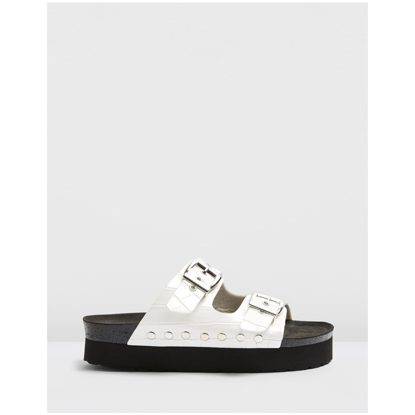 Freya Vegan Footbed Sandals White by Topshop