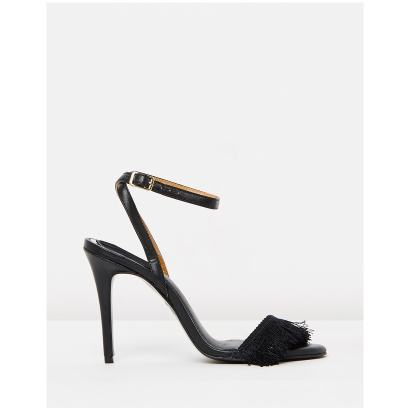 Fringe Leather Stilettos Black by Jaggar The Label