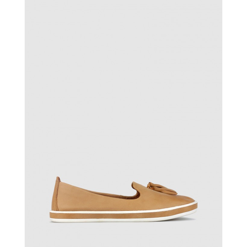 Gabble Slip On Leather Loafers Camel by Airflex