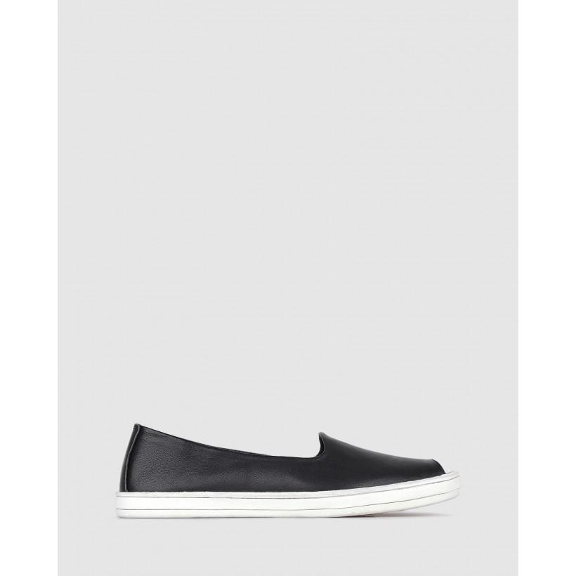 Gina Peep Toe Leather Flats Black by Airflex