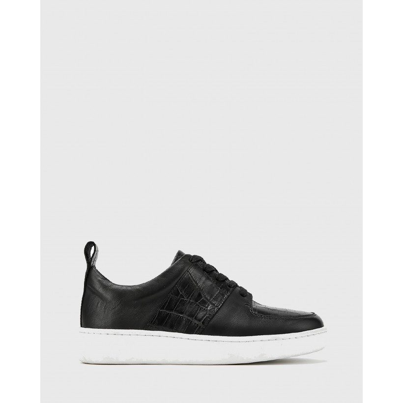 Gino Smooth Croc Leather Lace Up Sneakers Black by Wittner