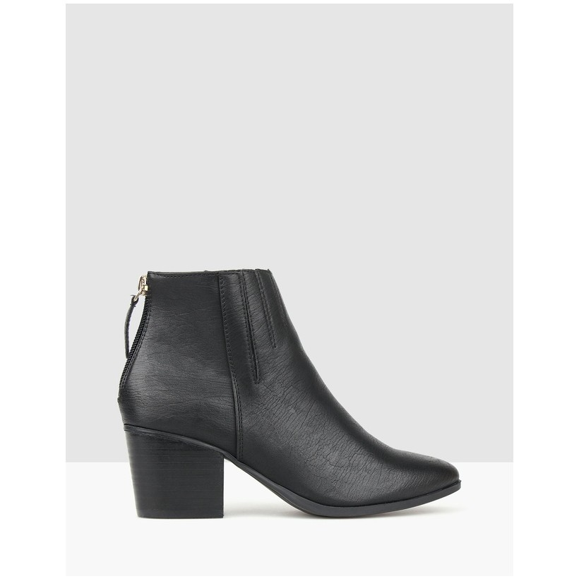 Glock Block Heel Ankle Boots Black by Betts