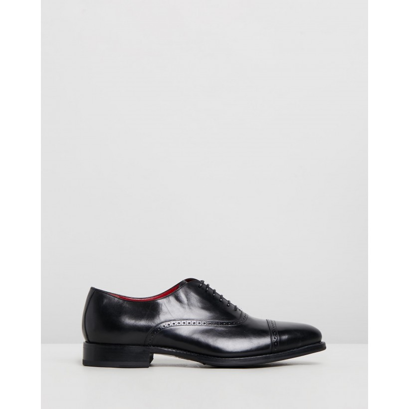 Goodyear Welted Oxfords Black Leather by Barrett