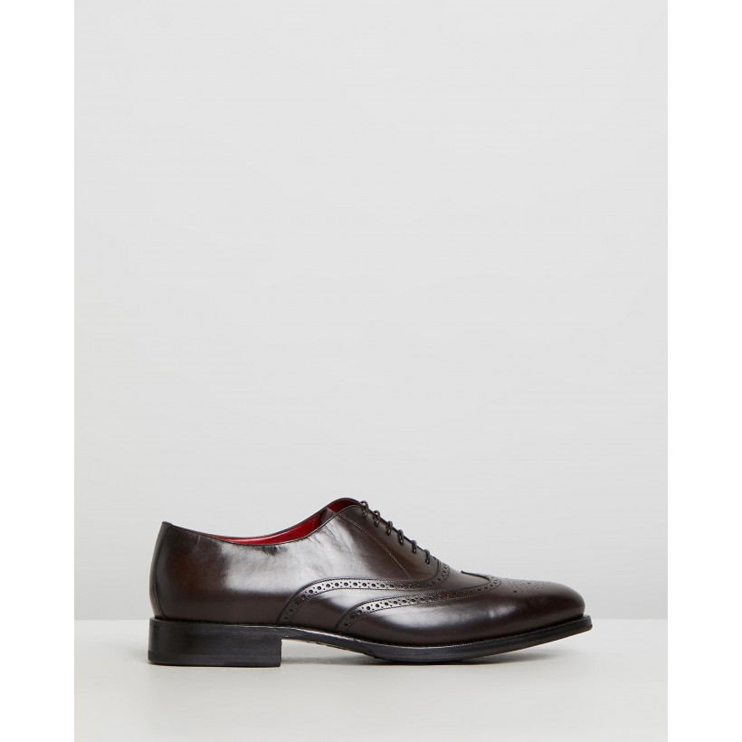 Goodyear Welted Wing-Tip Brogues Brown Leather by Barrett