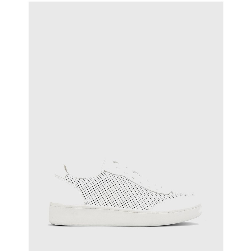 Grady Round Toe Perforated Sneakers White by Wittner