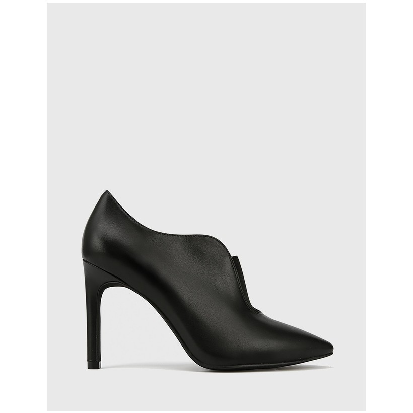 Haddison Pointed Toe Stiletto Heel Booties Black by Wittner