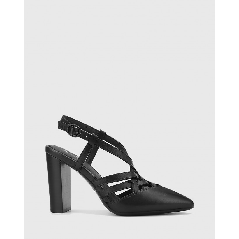 Hao Leather Pointed Toe Block Heels Black by Wittner