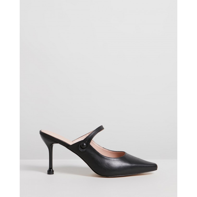 Hazel Leather Heels Black Leather by Atmos&Here