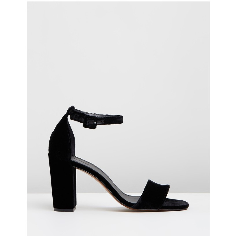 Hedda Velvet Block Heel Sandals Black by Whistles