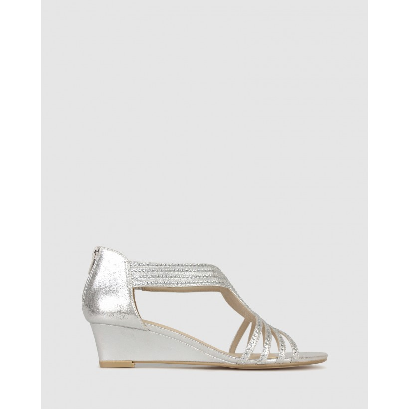 Helix Bling Strap Low Wedges Silver by Betts