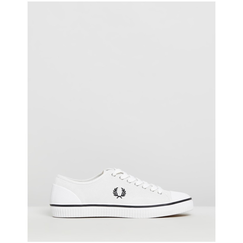 Hughes Low Suede - Men's White & Black by Fred Perry