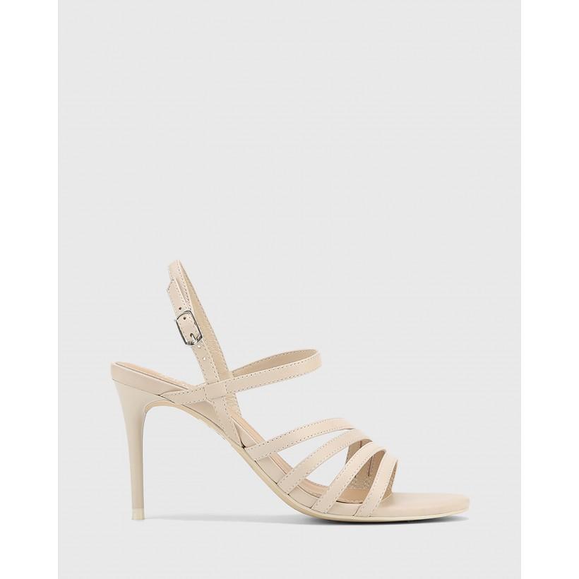Izarra Leather Open Toe Stiletto Heel Sandals White by Wittner