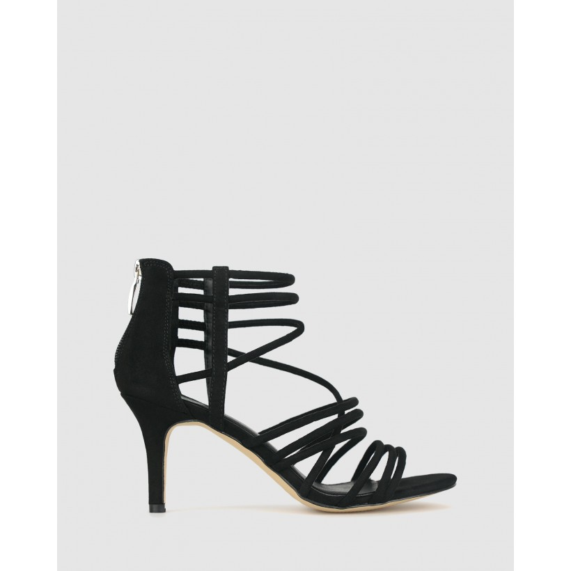 Izzy 2 Stiletto Sandals Black Micro by Betts