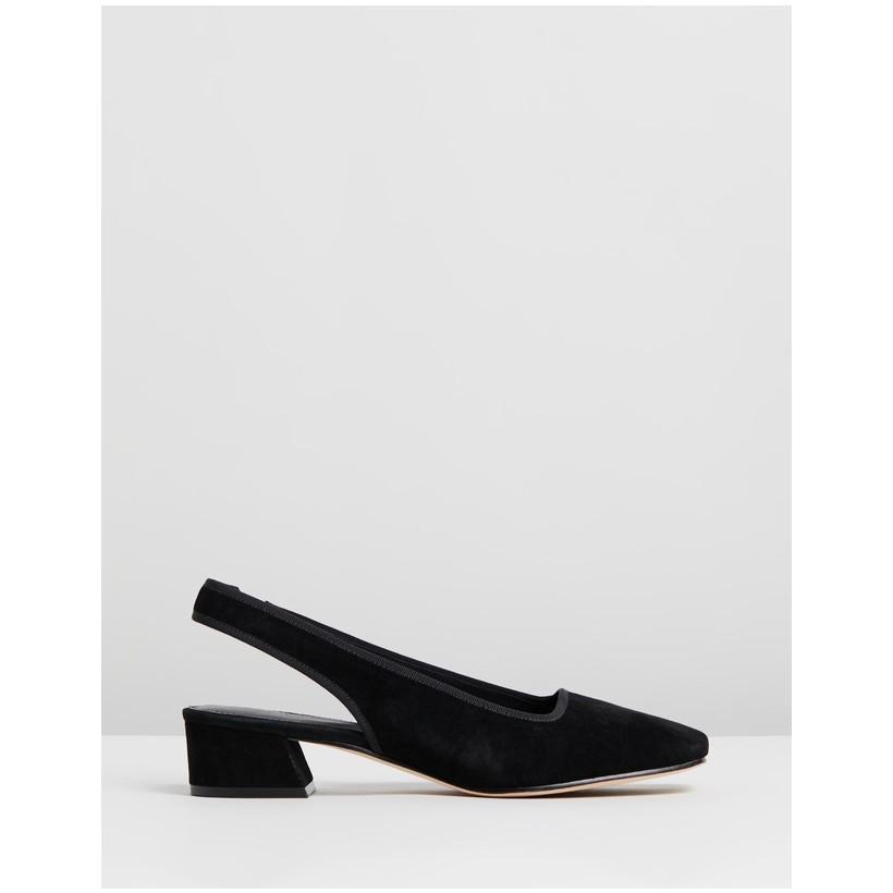 Jackie Suede Slingback Heels Black by Mara & Mine