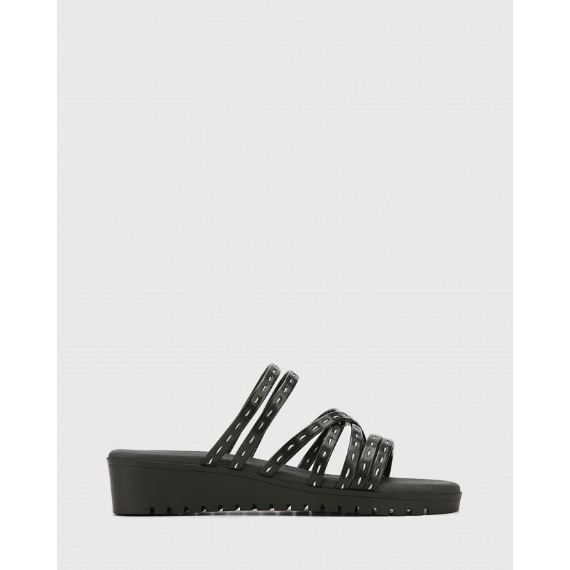 Jelica Leather Slip On Wedge Sandals Black by Wittner