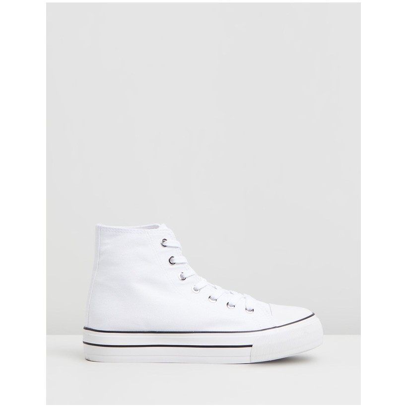 Jemma High Top Sneakers White Canvas by Rubi