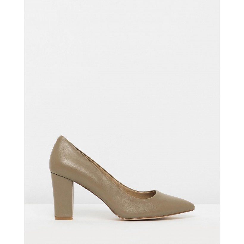 Jolene Leather Block Heels Nude Leather by Atmos&Here