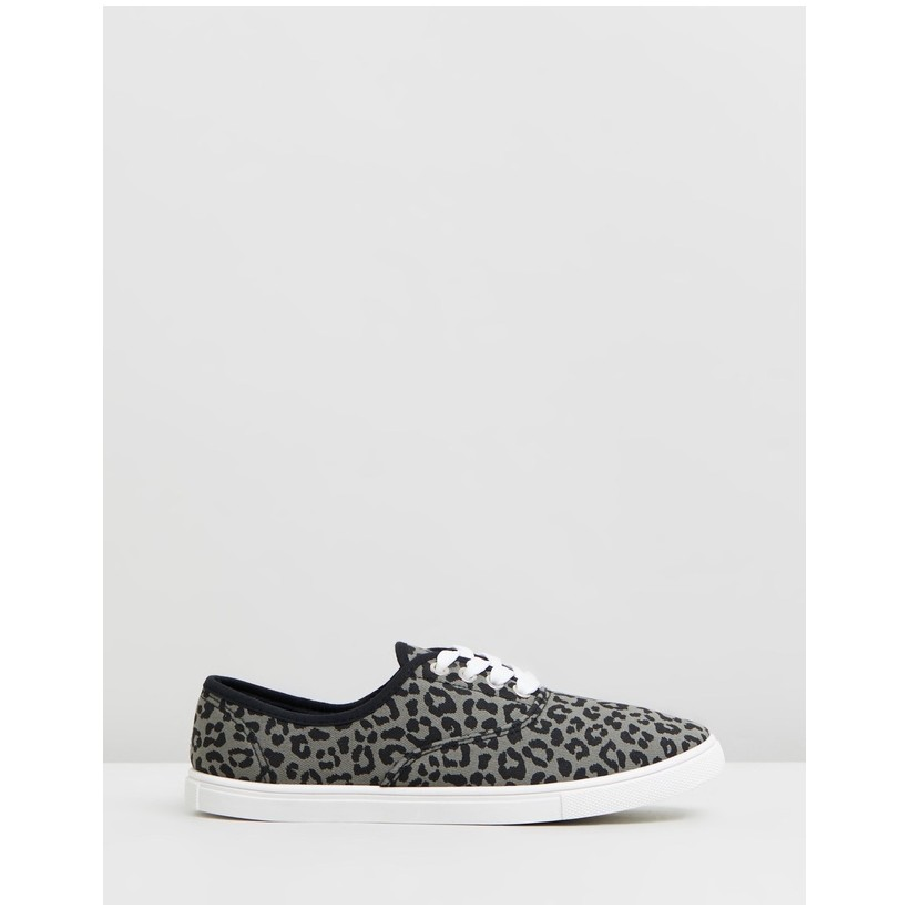 Juno Plimsoll Sneakers Charcoal Leopard Print Twill by Rubi