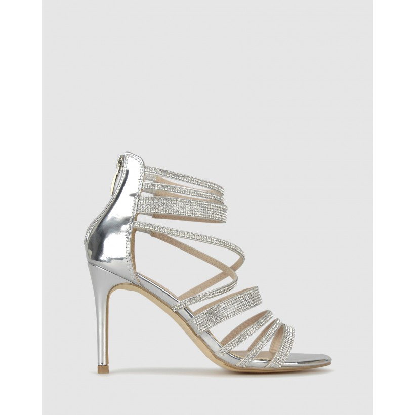 Kandy Diamante Stiletto Sandals Silver by Betts