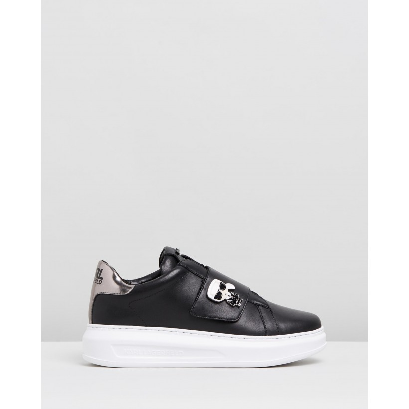 KAPRI Ikonic Fix Strap Shoes Black Leather With Dark Grey by Karl Lagerfeld