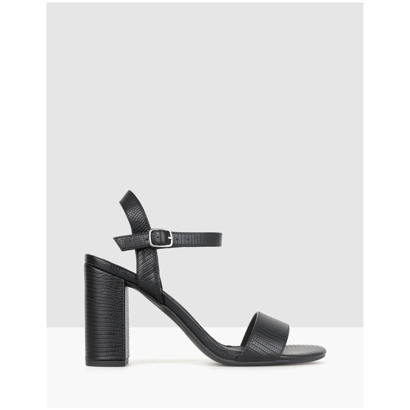 Karly Block Heel Sandals Black Lizard by Betts