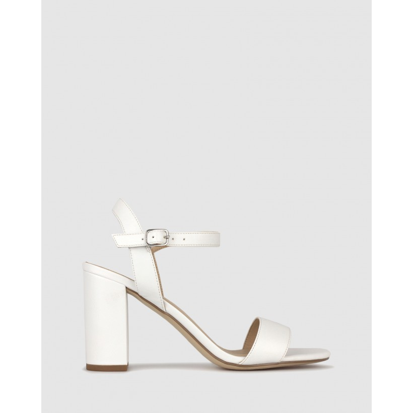 Karly Block Heel Sandals White by Betts