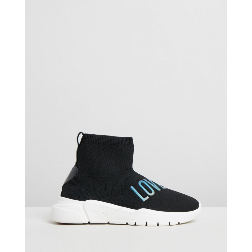 Knit High Sneakers Black by Love Moschino
