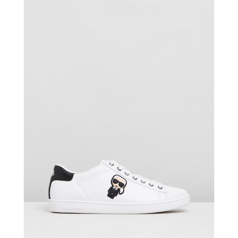 Kupsole II Karl Ikonic Lo Lace Shoes White Leather by Karl Lagerfeld