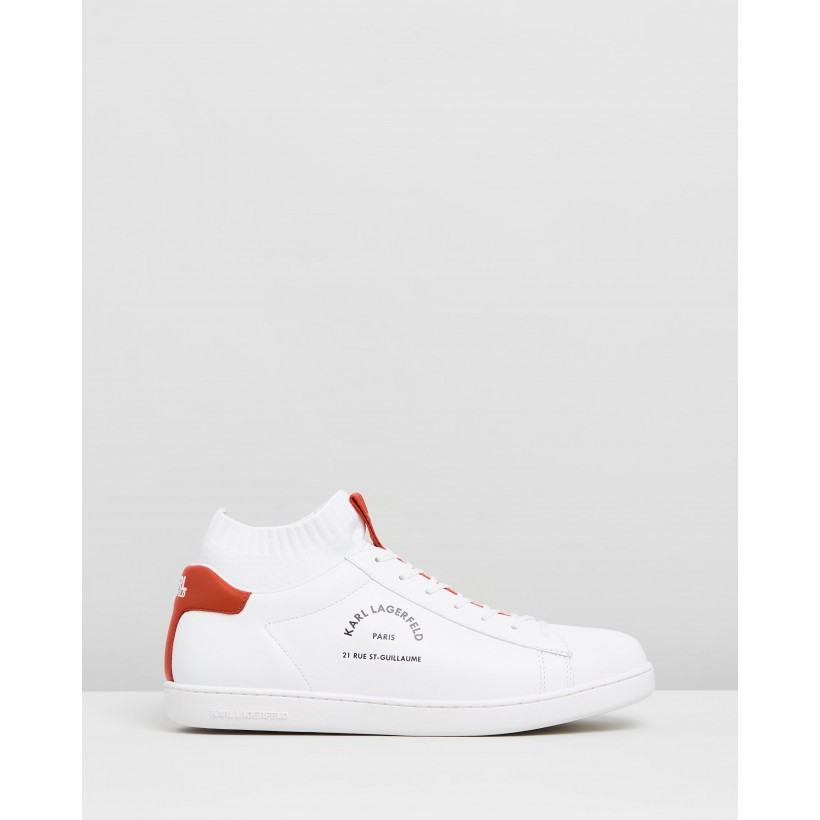 Kupsole II Maison Karl Lace Lo Sneakers White Leather With Red by Karl Lagerfeld