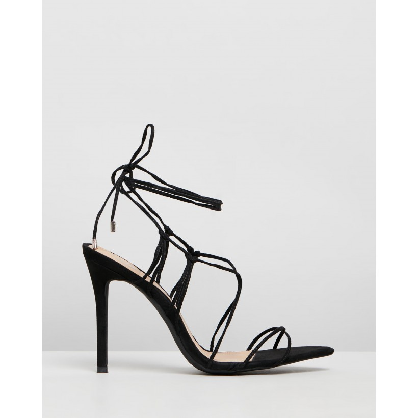 Lace-Up Pointed Toe Heels Black by Missguided