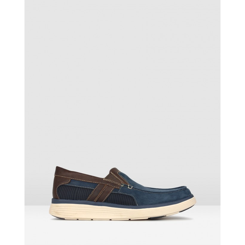 League Leather Comfort Loafers Navy by Airflex
