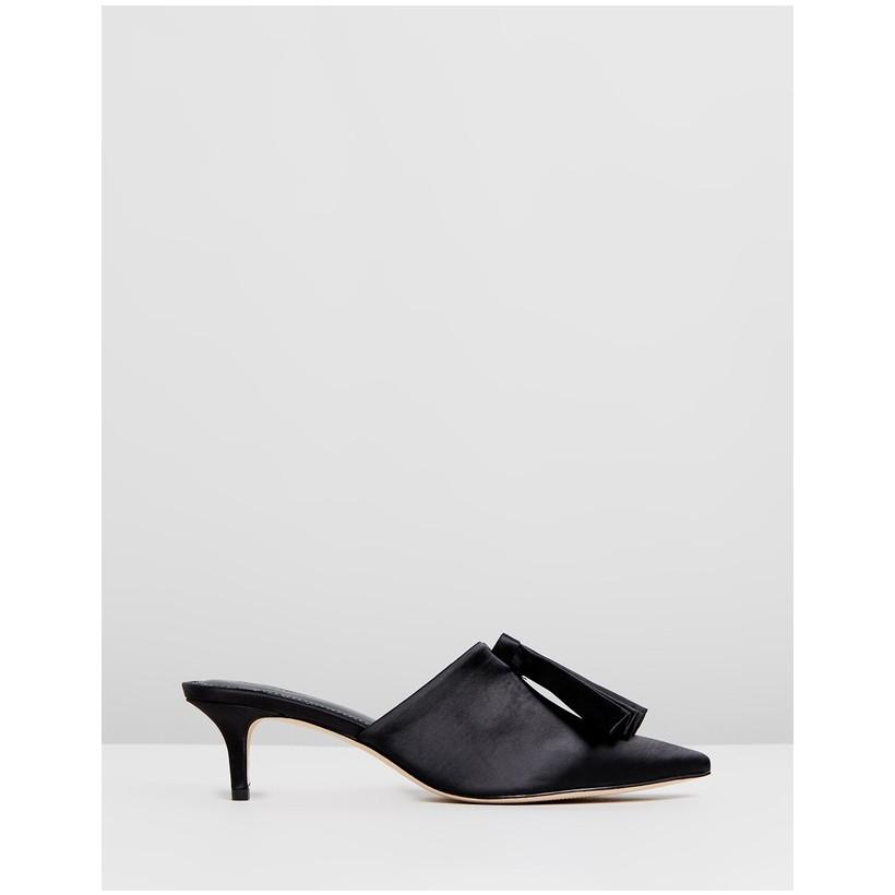 Liesl Silk Kitten Heels Black by Mara & Mine