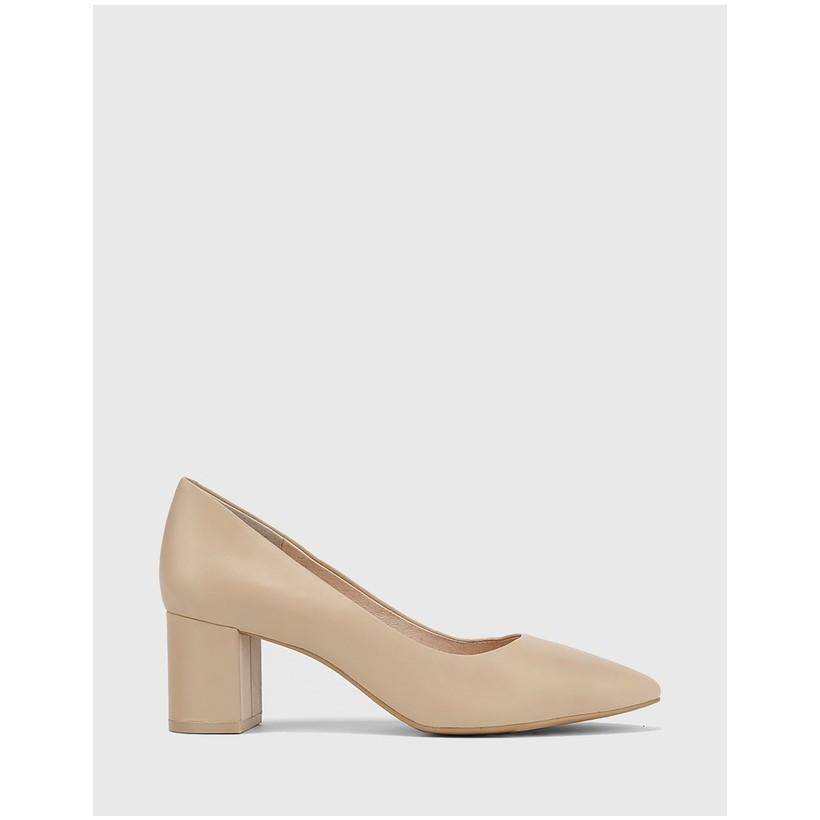 Liona Pointed Toe Block Heel Pumps Nude by Wittner