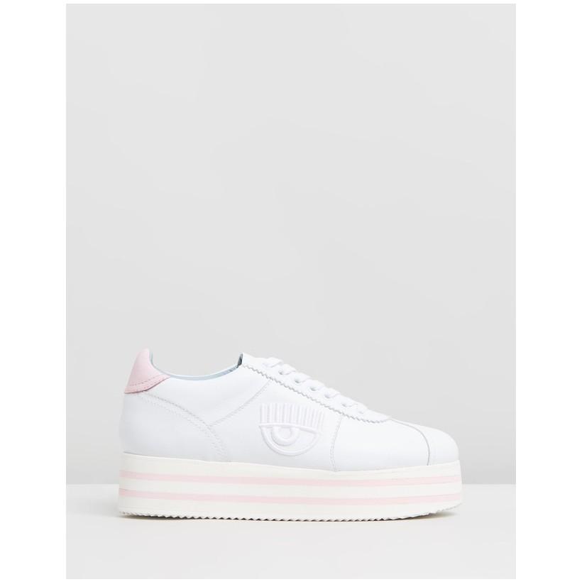 Logomania Platform Sneakers White & Pink by Chiara Ferragni