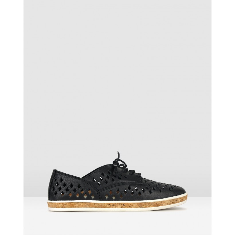 Lola Perforated Leather Lace Up Shoes Black by Airflex