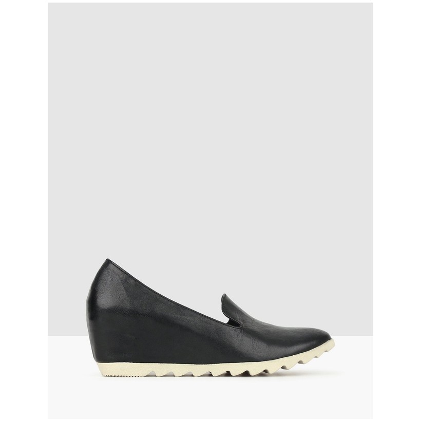 Loretto Leather Wedge Loafers Black by Airflex