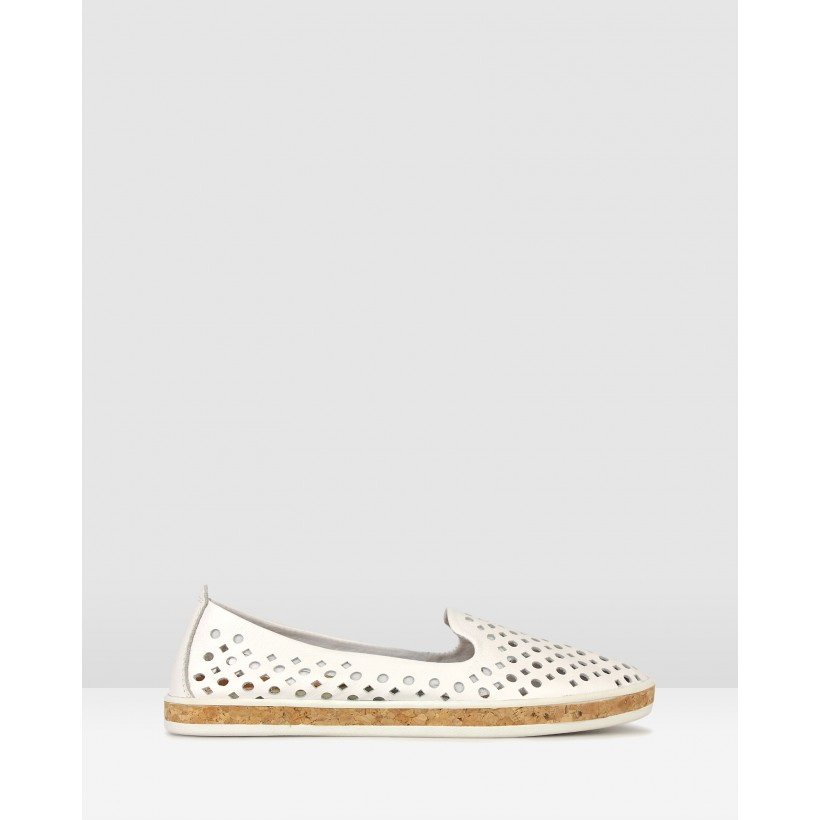 Louis Perforated Leather Loafers White by Airflex