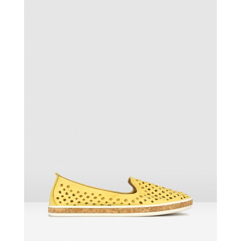 Louis Perforated Leather Loafers Yellow by Airflex