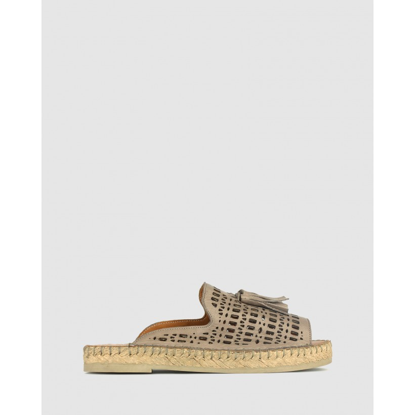 Lovely Laser Cut Espadrille Sandals Taupe by Airflex