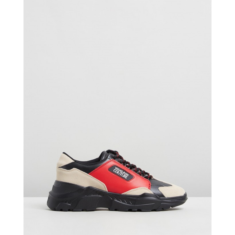 Low-Top Speed Trainers Red, Black & Neutrals by Versace Jeans Couture