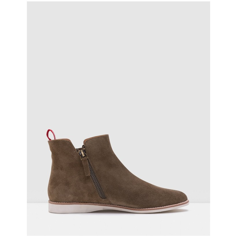 Madison Zip Boots Khaki Wash Suede by Rollie