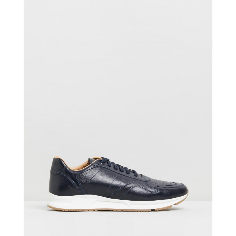 Mahrez Leather Sneakers Navy by Double Oak Mills