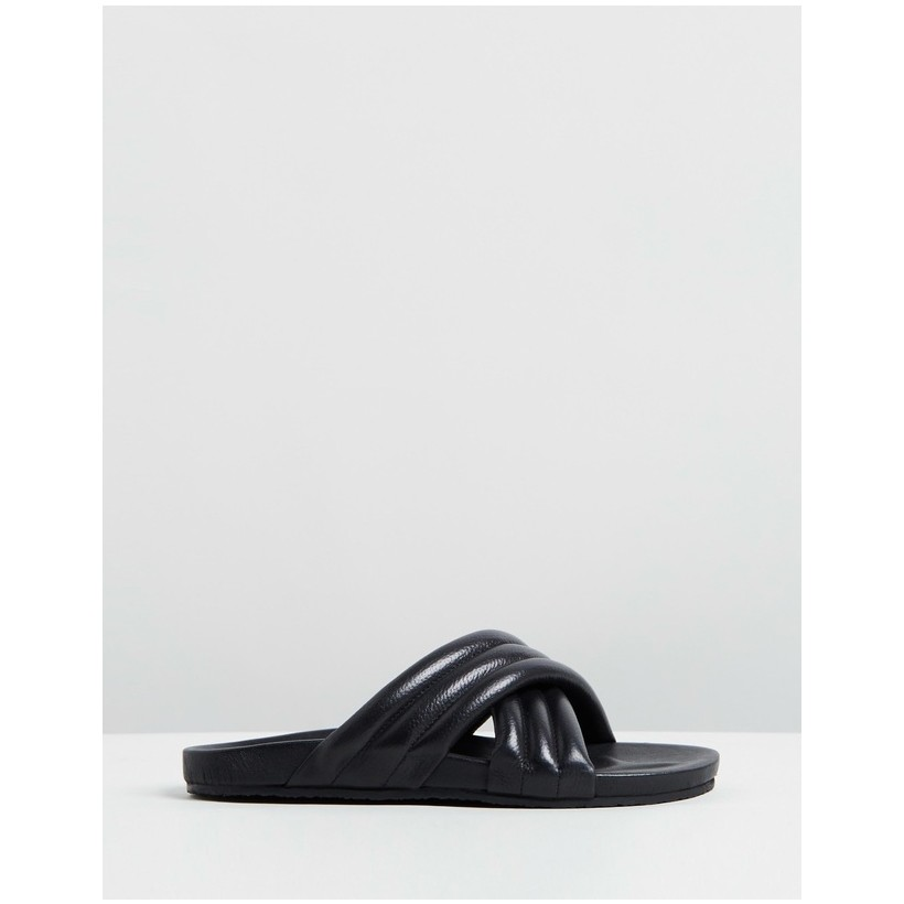 Manuela Sandals Black Leather by Atmos&Here